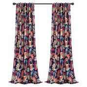 "Lush Decor Zara Jacobean Room Darkening 84"" x 52"" Floral Navy 100% Polyester 3"" Back Tab Rod Pocket Pair Window Panel"
