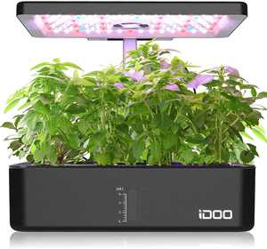 iDOO 12Pods Indoor Herb Garden Kit, Hydroponics Growing System with LED Grow Light, Smart Garden Planter for Home Bedroom Kitchen Office, Automatic Timer Germination Kit, Height Adjustable (No Seeds)