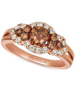 Chocolate Diamonds (5/8 ct. t.w.) & Nude Diamonds (3/8 ct. t.w) Statement Ring in 14k Rose, Yellow or White Gold