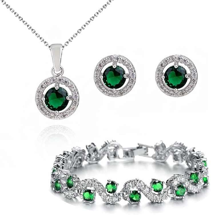 Crystalline Azuria Women 18 ct White Gold Plated Round Green Simulated Emerald Zirconia Crystals Set Pendant Necklace Stud Earrings Bracelet