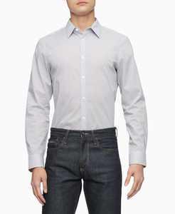 Men's Dot Print Logo Button Down Long Sleeves Shirt