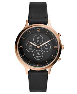 Tech Charter Black Leather Strap Hybrid Smart Watch 42mm