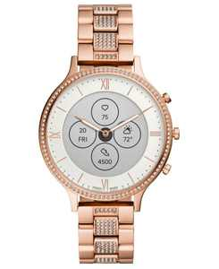 Tech Charter Rose Gold-Tone & Crystal Bracelet Hybrid Smart Watch 42mm