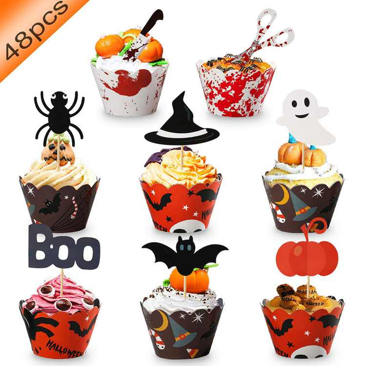Abenow 48 Pcs Halloween Cupcake Toppers Wrappers Paper Cake Cupcake Topper Festival DIY Cake Decorations Halloween Party Supplies