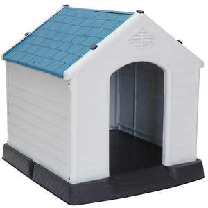 ZENY Plastic Indoor Outdoor Dog House Medium Pet Doghouse Puppy Shelter White, Blue Roof