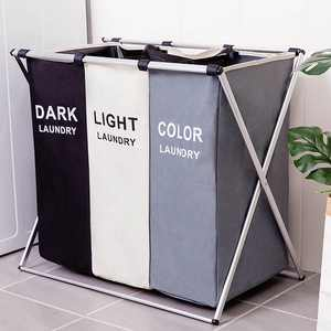 3 Grid 26 Inch Foldable Laundry Hamper Laundry Basket,Washing Clothes Laundry Bag for Home Storage
