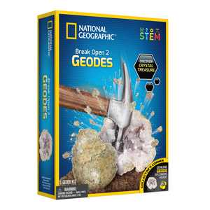 NATIONAL GEOGRAPHIC Break Open 2 Geodes Science Kit  Includes Goggles