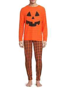 Jack-O'-Lantern, Adult Mens, Matching Halloween Pajamas Sleepwear Sets, Sizes S-2XL