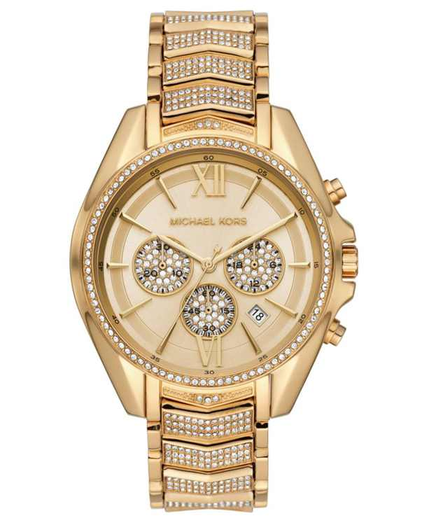Women's Chronograph Whitney Gold-Tone Stainless Steel Pave Bracelet Watch 45mm