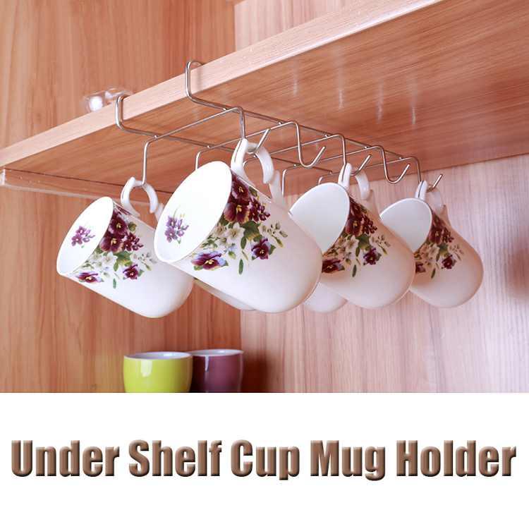 Mug Holder Coffee Tea Cup Rack Storage Kitchen Under Shelf Cabinet Hanger 10 Hooks