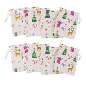 Drawstring Gift Bag, 10pcs Natural Linen Small Sack Candy Bag Xmas Pattern Candy Jewelry Bag