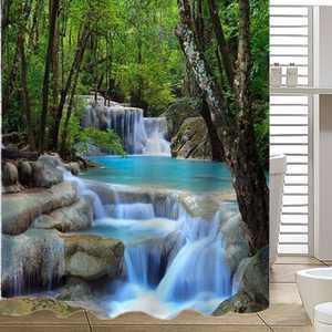 3D Waterfall Coated Shower Curtain Waterproof Bathroom Shower Curtain Forest Rocks Pattern Art Decor 78 x 70 Inch