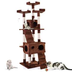 """Topcobe 67"""" Large Cat Tree with Sisal-Covered Scratching Post Condo, Big Multi-Level Cats Tower Furniture - for Kittens Pets Climb Scratch House Play Brown"""