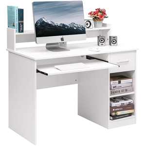 Winado Computer Desk Home Office Workstation Laptop Study Table with Drawer Keyboard Tray, White