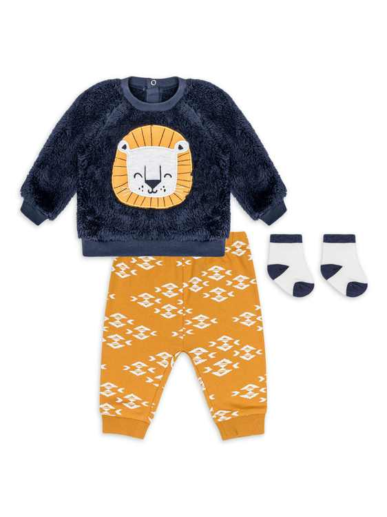 PL Baby by Petit Lem Baby Boy Long Sleeve Shirt, Pant and Socks Outfit Set, 3pc