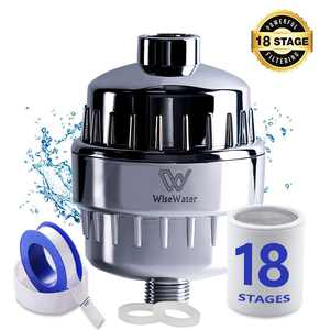 WiseWater Upgraded 18-Stage Shower Filter with Replaceable Water Filter Cartridge, Universal Shower Head Water Filters, Remove Chlorine Fluoride Heavy Metals Sediments Impurities