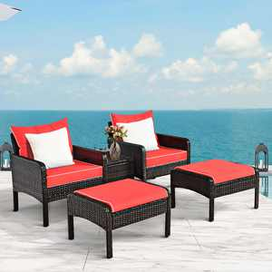 Costway 5-Pieces Patio Rattan Furniture Set Sofa Ottoman Table Cushioned Yard Red
