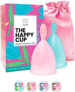 Happy Cup Menstrual Cups Hawwwy Tampon & Pad Alternative Large Heavy Flow Good-Grip Pull Design Eco Friendly Reusable FBA Registered Comfortable Feminine Period Cup Beginner or Experienced (2-Pack)