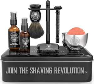 Viking Revolution Luxury Safety Razor Shaving Kit - Includes Double Edge Safety Razor, Stand, Bowl, & More