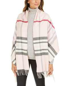 Exploded Plaid Wrap Cash Mink Scarf