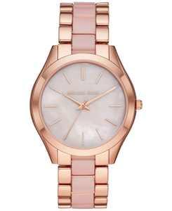 Women's Slim Runway Rose Gold-Tone Stainless Steel & Blush Acetate Bracelet Watch 42mm