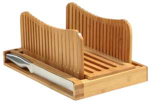 Bamboo Bread Slicer Cutting Guide - Foldable and Compact with Crumbs Tray and Knife