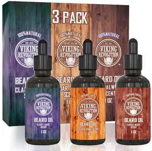 Viking Revolution Beard Oil Conditioner 3 Pack - Sandalwood, Pine, Cedar, Clary Sage Variety Gift Set