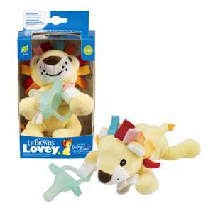 Dr. Brown's Lovey Pacifier and Teether Holder, Lion with Teal Happypaci