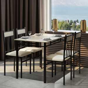 Costway 5-Pieces Faux Marble Dining Set Table and 4 Chairs Kitchen Breakfast Furniture