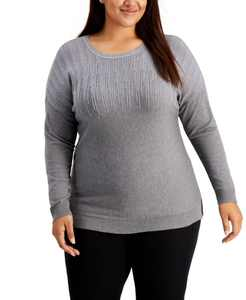 Plus Size Sparkle Shoulder Sweater, Created for Macy's