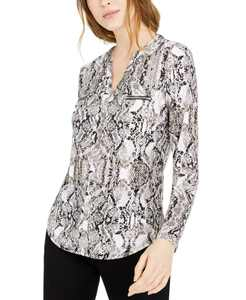 INC Animal Print Zip-Detail Top, in Regular & Petite, Created for Macy's