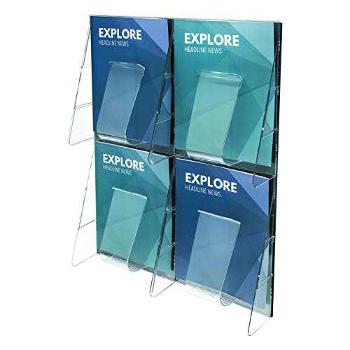 Deflecto 56001 Stand-tall 1-piece literature rack for magazines, 4 unbreakable pockets, clear