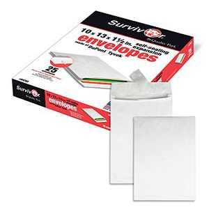 Quality Park Survivor R4202 Tyvek Expansion Mailer, 10 x 13 x 1 1/2, White (Box of 25)