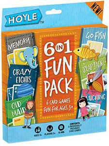 Hoyle Kid's 6 in 1 Fun Pack - Kids Card Games - Memory, Crazy Eights, Old Maid, Go Fish, Slap Jack, Matching - Ages 3 and Up