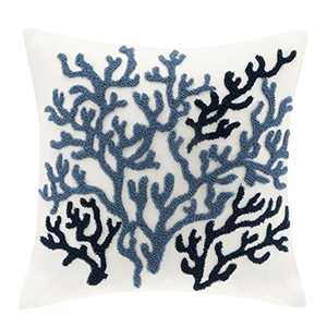 "Harbor House Modern Design Decorative Pillow Hypoallergenic Sofa Cushion Lumbar, Back Support, 18""x18"", Beach House, Cotton Coastal Blue Square"