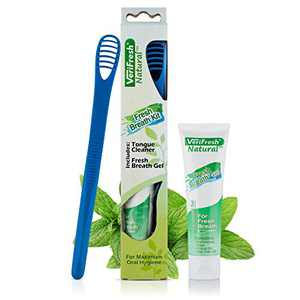 VeriFresh Tongue Scraper & Cleaner with Cleaning Gel – All Natural Fresh Breath Treatment Kit for Bad Breath