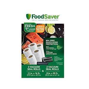 """FoodSaver 8"""" and 11"""" Vacuum Seal Rolls Multipack, Make Custom-Sized BPA-Free Vacuum Sealer Bags, Multi-Pack, Clear"""