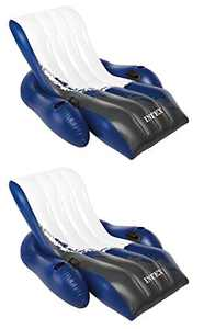 Intex Inflatable Floating Comfortable Recliner Lounges with Cup Holders (2 Pack)