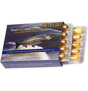 VitalRemedyMD VitalOils1000 One Per Day Ultra-High Potency Omega 3 Fish Oil Burpless, DHA, EPA (1000 mg per cap), Enteric Coated Soft Gels, Brain Joints Eyes Hair Heart Health Supplement - Packaging may vary