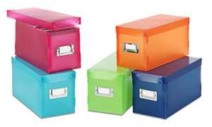 Whitmor Plastic Storage Boxes Assorted Colors Set of 5
