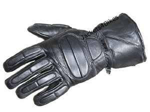 Motorcycle Biker Premium Leather Winter Thinsulate Full Gloves Black L