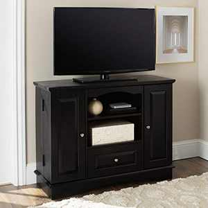 """Walker Edison Tall Traditional Wood Universal TV Stand with Cabinet Doors and Open Shelves for TV's up to 48"""" Living Room Storage Shelves Entertainment Center, 42 Inch, Black"""