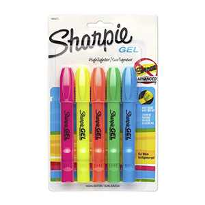 Sanford Brands 1803277 Sharpie Accent Gel Highlighter, Assorted Colors, 5-Count