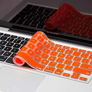 Kuzy Older Version Keyboard Cover Compatible with MacBook Pro 13 15 17 inch Release 2010-2015 and MacBook Air 13.3 inch Release 2010-2017 Silicone Skin Protector, Orange