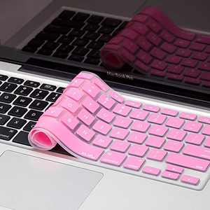 Kuzy Older Version Keyboard Cover Compatible with MacBook Pro 13 15 17 inch Release 2010-2015 and MacBook Air 13.3 inch Release 2010-2017 Silicone Skin Protector, Rose Pink