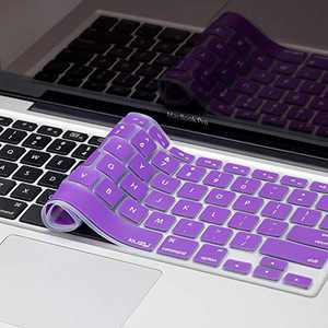 Kuzy Older Version Keyboard Cover Compatible with MacBook Pro 13 15 17 inch Release 2010-2015 and MacBook Air 13.3 inch Release 2010-2017 Silicone Skin Protector, Purple