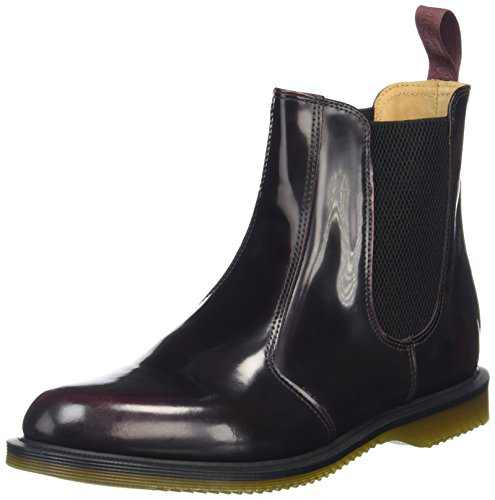Dr. Martens Women's Flora Leather Chelsea Boot, Cherry Red Arcadia, 6 UK/8 M US