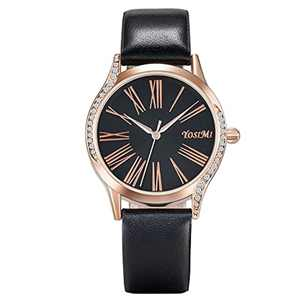 Ladies Watches Rose Gold Stainless Steel Case with Diamond Fashion Japanese Quartz Waterproof Dress Style Gift 1 Mesh Strap
