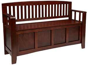 "Linon Home Dcor Linon Home Decor Cynthia Storage Bench, 50""w x 17.25""d x 32""h, Walnut"