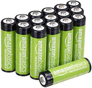 Amazon Basics 16 Pack AA Performance-Capacity 2,000 mAh Rechageable Batteries, Pre-Charged, can be recharged 250+ times